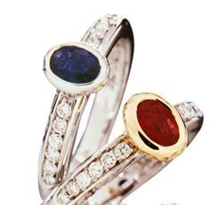 Alianças Nina de safira e rubi com diamantes