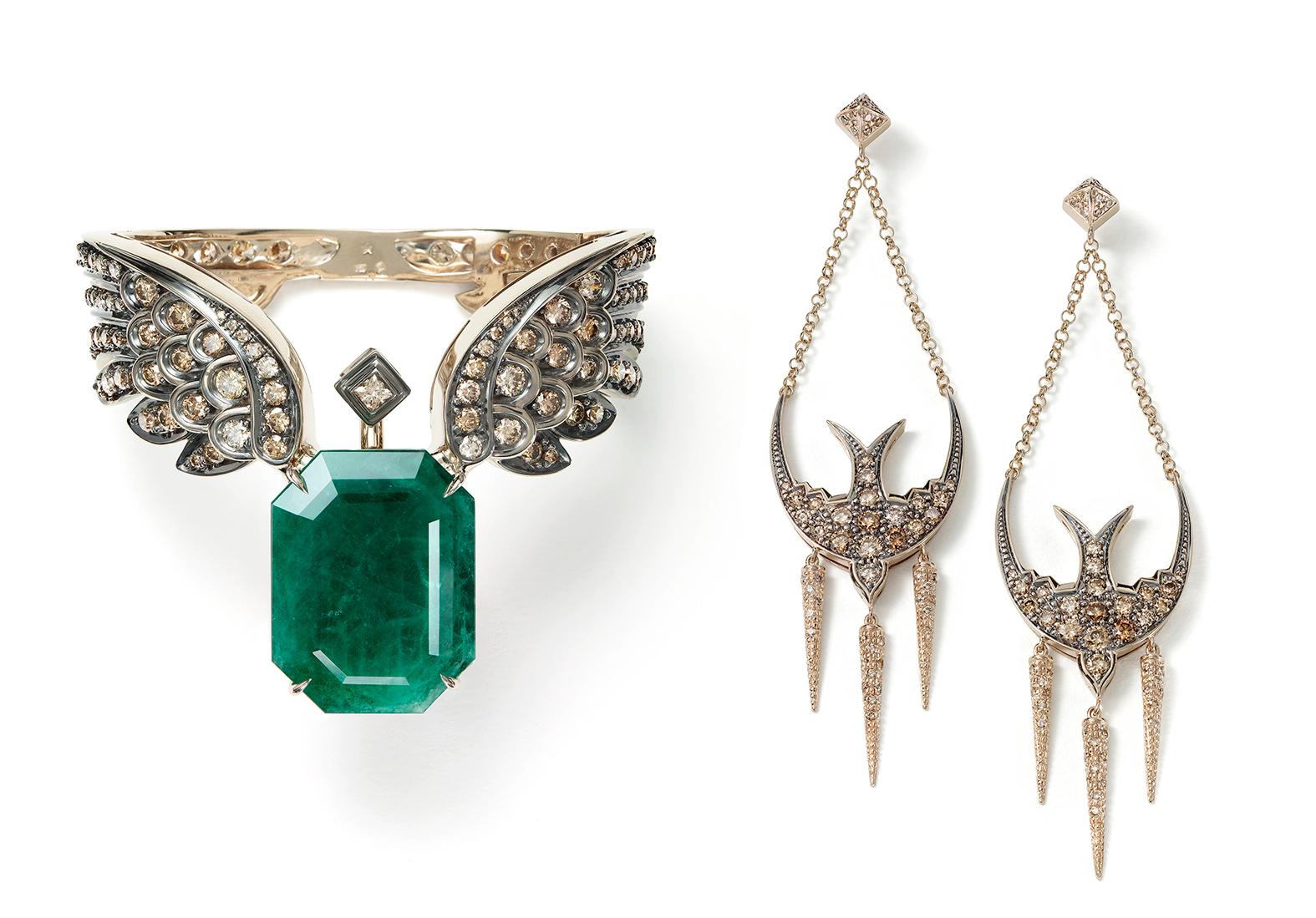 Bracelete-ROCK-FALL-de-Ouro-Nobre-com-esmeralda-e-diamantes-cognac-(P1EM-199974)