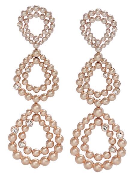 Brincos ÍRIS de Ouro Nobre e ouro rosé 18K com diamantes cognac