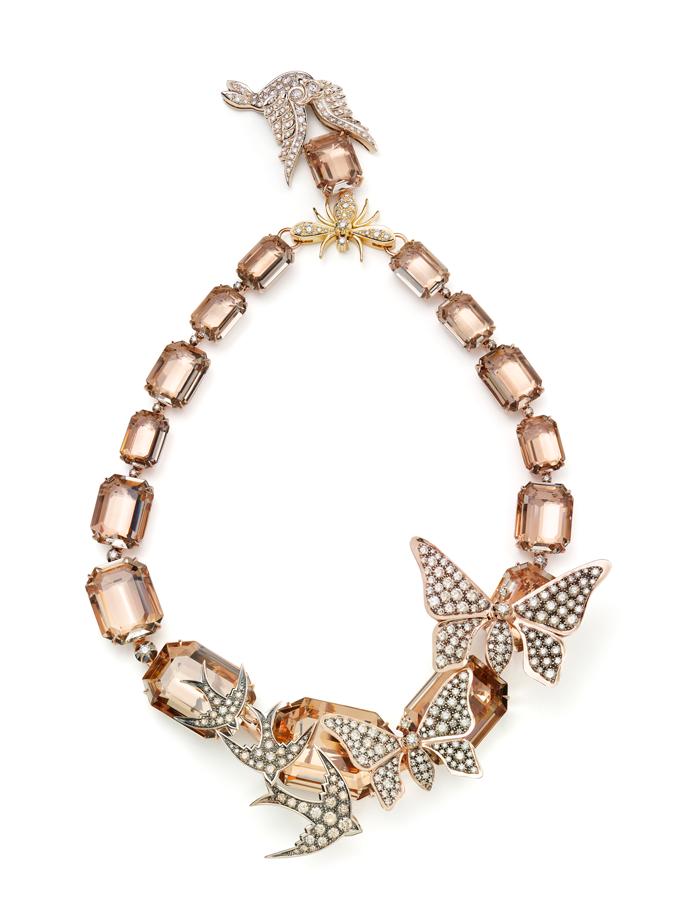 Colar-ROCK-SEASON-de-ouro-rosé,-amarelo-e-Nobre-com-quartzos-fumês-e-diamantes-(C0B-200456)