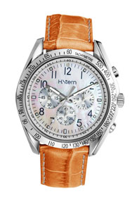 Relógio HS ID com mostrador madrepérola e pulseira laranja